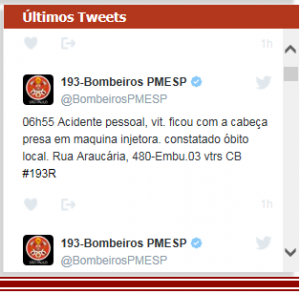 Print do site do Corpo de Bombeiros com a triste notícia - Foto: Divulgação